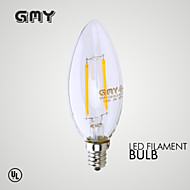 1 pcs GMY E12 2W  LED Filament Light  COB ≥200 LM Warm White CB10 Clear  Decorative Candle Bulbs AC 110-130V 2700K
