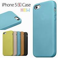 iPhone 5/iPhone 5S - Takapäällinen - Yhtenäinen väri/Erikoismuotoilu/Uutuudet (Punainen/Musta/Vihreä/Sininen/Ruskea/Beesi , PU-nahka/Aito nahka)