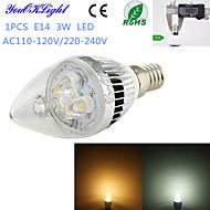 Ampoules Bougie Décorative Blanc Chaud / Blanc Froid YouOKLight 1 pièce C35 E14 3 W 3 LED Haute Puissance 260 LM AC 100-240 / AC 110-130 V