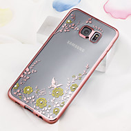 Mert Samsung Galaxy tok Strassz / Galvanizálás / Átlátszó Case Hátlap Case Virág TPU Samsung S6 edge plus / S6 edge