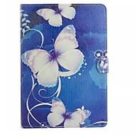 For Samsung Galaxy etui Kortholder / Pung / Med stativ / Flip / Mønster Etui Heldækkende Etui Sommerfugl Kunstlæder SamsungTab 4 10.1 /