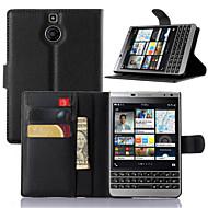 For BlackBerry etui Kortholder / Med stativ / Flip Etui Heldækkende Etui Helfarve Hårdt Kunstlæder for BlackBerry
