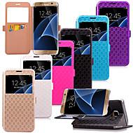 For Samsung Galaxy S7 Edge Kortholder Med stativ Med vindue Flip Etui Heldækkende Etui Geometrisk mønster Kunstlæder for SamsungS7 edge