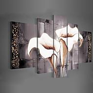 Maalattu Kukkakuvio/Kasvitiede Mikä tahansa muoto,Classic Moderni Perinteinen 5 paneeli Kanvas Hang-Painted öljymaalaus For Kodinsisustus