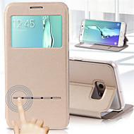 deji® visa Smart Touch metall besvara samtal PU läderfodral till Samsung Galaxy s7 kant / S7 / S6 kant + / s6 kant / S6 / S5 / S4 / S3