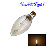 YouOKLight® E14 25W 260LM 3000K Warm White Edison retro candle tungsten filament lamp(AC220V-240V)