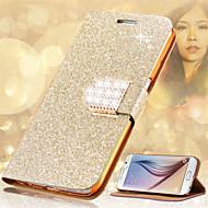Pour Porte Carte Strass Avec Support Clapet Coque Coque Intégrale Coque Brillant Dur Cuir PU pour Samsung Note 5 Note 4 Note 3