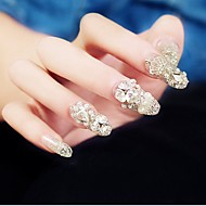 24PCS Luxurious Inlay Jewel Silver Crown Bride Feast Nail Tips
