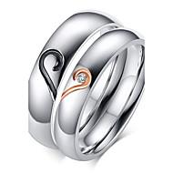 커플용 커플 링 밴드 반지 러브 탄생석 의상 보석 지르콘 티타늄 스틸 도금 골드 Heart Shape 보석류 제품 결혼식 파티 일상