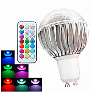 8W GU10 LED-pallolamput A60(A19) 3 Teho-LED 400 lm RGB Himmennettävä / Kauko-ohjattava / Koristeltu AC 100-240 V 1 kpl