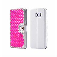 For Samsung Galaxy Case Card Holder / Rhinestone / with Stand / Flip Case Full Body Case Glitter Shine PU Leather Samsung S6 edge