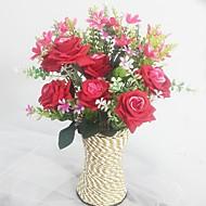 Gren Silke Plastikk Orkideer Roser Bordblomst Kunstige blomster 12