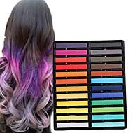 24 farve midlertidige kridt farveblyanter til hår ugiftige hårfarvningsmidler pasteller stick DIY styling værktøjer