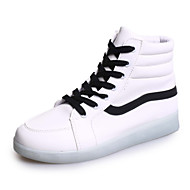 Women's Shoes Leatherette Flat Heel Round Toe Fashion Sneakers Outdoor / Casual / Athletic Black / White