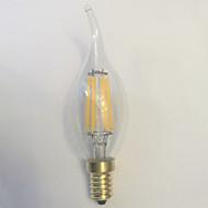1 pcs kwb E14 5W / 6W 6 COB 600 lm Warm White C35 edison Vintage LED Filament Bulbs AC 220-240 V
