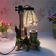 Creative Wood The Violin with Pen Container Decoration Desk Lamp Bedroom Lamp Gift for Kid