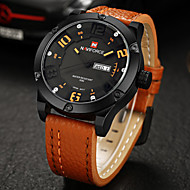 NAVIFORCE 男性 軍用腕時計 カレンダー クォーツ 日本産クォーツ レザー バンド カジュアルスーツ ラグジュアリー ブラック オレンジ ブラウン