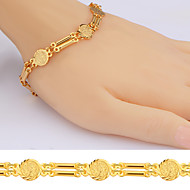 Coin Shape Bracelets Women Jewelry Trendy Quality 18K Gold Plated Link Chain Bracelets B40054