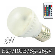 1pcs Ding Yao E27 3W 6LED SMD 5050 400lm RGB Recessed Retrofit Remote-Controlled / Decorative LED Globe Bulbs AC 85-265V
