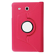 For Samsung Galaxy Case with Stand / Flip / 360° Rotation Case Full Body Case Solid Color PU Leather Samsung Tab E 9.6