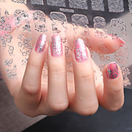 3D Nail Art Full Nail Sticker Silver Color ,60 Decals/Sheet,5 Different Styles in 1 Sheet,For 5 Pairs of Hands-YILIN-83S