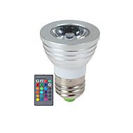 3W E14 / GU10 / E26/E27 LED-kohdevalaisimet 1 Teho-LED 270 lm RGB Himmennettävä / Kauko-ohjattava AC 85-265 V 1 kpl