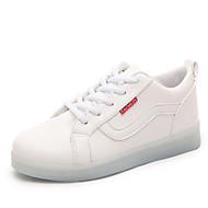 Women's Shoes Leatherette Flat Heel Round Toe Fashion Sneakers Outdoor / Athletic / Casual White