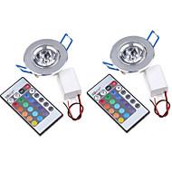2 pcs MORSEN 3W 1 Integrate LED 200-250 LM RGB Recessed Retrofit Remote-Controlled / Decorative LED Ceiling Lights / LED Panel LightsAC