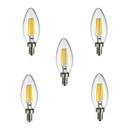5pcs HRY® E14 4W 400LM Warm/Cool White 360 Degree Edison Filament Light LED Candle Bulb(220V)