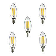 5개 HRY E14 4W 4 고성능 LED 400 lm 따뜻한 화이트 / 차가운 화이트 CA35 edison 빈티지 LED필라멘트 전구 AC 220-240 V