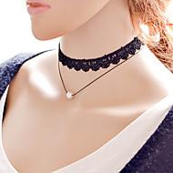 Damskie Naszyjniki choker Perlový náhrdelník Tatuaż Choker Perłowy Stop Tatuaż Podwójna warstwa Black Biżuteria Na Codzienny Casual 1szt