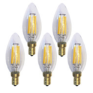 5 pcs kwb E14 6W 6 COB 600 lm Warm White C35 edison Vintage LED Filament Bulbs AC 220-240 V