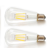 2pcs kwb E26/E27 6W 6XFilament COB 540lm Warm White LED ST64 Retro LED Filament Bulbs AC85-265V
