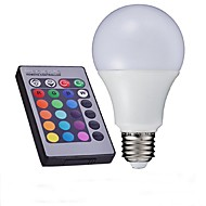 10W E26/E27 Ampoules Globe LED A60(A19) 1 LED Haute Puissance 700-850 lm RVB Commandée à Distance AC 85-265 V 1 pièce