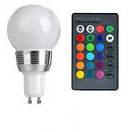 3W GU10 LED 글로브 전구 A50 1 고성능 LED 100-200 lm RGB 리모컨 작동 AC 85-265 V 1개