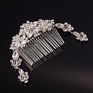 ezüst / arany levél virág alakú kristály gyöngy haj fésűk násznép hölgy