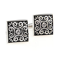 Men's Fashion Black Print Silver Alloy French Shirt Cufflinks (1-Pair) Christmas Gifts