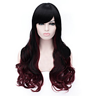 The New Wig Black Gradient Wine Red Points 28 Inch Long Hair Wigs