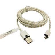 3m 10ft stof gevlochten geweven micro-USB-oplaadkabel data sync-kabel voor samsung htc sony telefoons (wit)