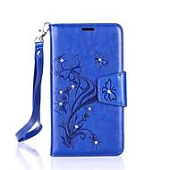 Para Samsung Galaxy Capinhas Porta-Cartão / Carteira / Com Strass / Com Suporte / Flip Capinha Corpo Inteiro Capinha Borboleta Rígida