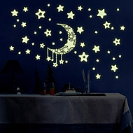 Luminous Night Sky Moon With Stars Luminous Wall Stickers DIY Children's Bedroom Living Room Wall Decals