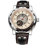 FORSINING 男性 スケルトン腕時計 機械式時計 透かし加工 自動巻き レザー バンド ラグジュアリー ブラック