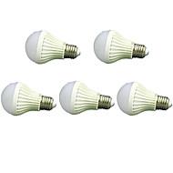5pcs 7W E27 2835smd kold hvid lyd& lysstyring lampe førte smarte pærer (220-240V)