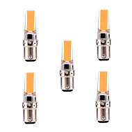 5W BA15D LED Bi-pin 조명 T 1 COB 400-500 lm 따뜻한 화이트 / 차가운 화이트 밝기 조절 / 장식 AC 220-240 / AC 110-130 V 5개