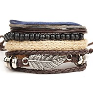 Men's Leather Bracelet Wrap Bracelet Punk Personalized Multi Layer Leather Alloy Round Wings / Feather Brown Jewelry ForDaily Casual