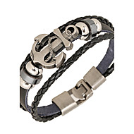Punk Men's Bracelet PU Leather Bracelet Easy Hook Anchor for Men Fashion Jewelry Christmas Gifts