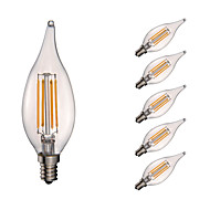 3.5W E12 LED Filament Bulbs CA10 COB 350 lm Warm White Dimmable / Decorative AC 110-130 V 6 pcs