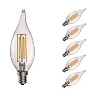 3.5 E12 Lampadine LED a incandescenza B 4 COB 350 lm Bianco caldo Intensità regolabile / Decorativo AC 110-130 V 6 pezzi