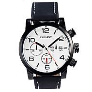 CAGARNY 男性 軍用腕時計 ドレスウォッチ ファッションウォッチ リストウォッチ / クォーツ レザー バンド ビンテージ ブラック ブラウン