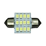 4 x ren hvit 31mm 12smd girlander kuppel interiør LED lyspærer de3175 3021 6428